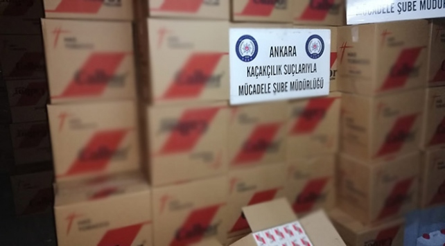 Ankarada 6 milyon 550 bin bandrolsüz makaron ele geçirildi