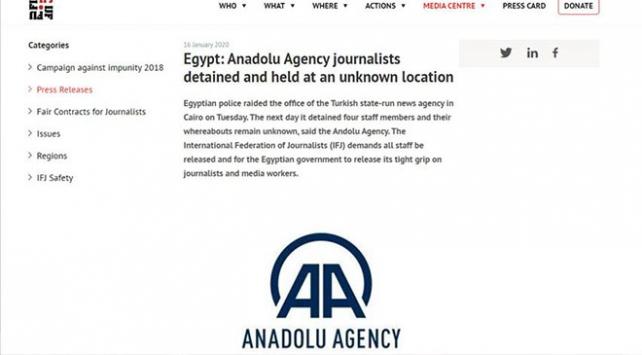 Uluslararası Gazeteciler Federasyonu AA çalışanlarının serbest bırakılmasını talep etti