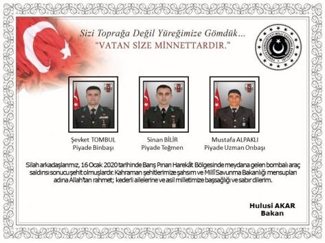 Milli Savunma Bakanı Akar, şehit askerler için taziye mesajı yayımladı