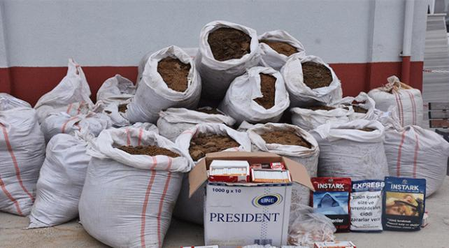 Tekirdağda 1 ton kaçak tütün ele geçirildi