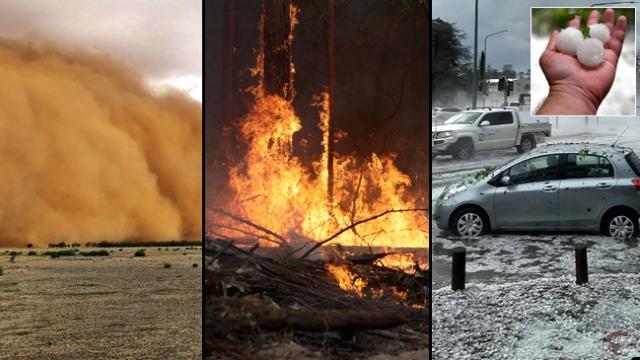 Avustralya'da orman yangınları, toz fırtınası, dolu ve sel