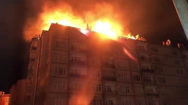 İstasyon Caddesi'nde deprem sonrası yangın