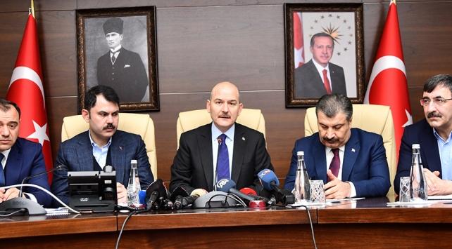 Üç bakandan Elazığda ortak açıklama: Depremzedelere nakdi yardım yapılacak