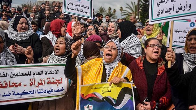 Gazzede ABDnin sözde barış planına karşı gösteriler sürüyor