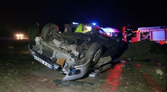 Konyada otomobil şarampole devrildi: 1 ölü, 2 yaralı