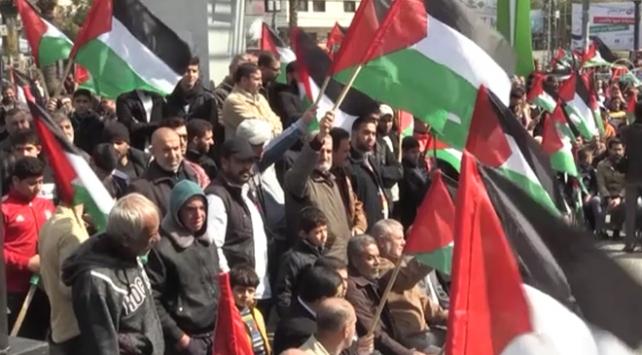 Trumpın Filistini parçalama planı Gazzede protesto edildi