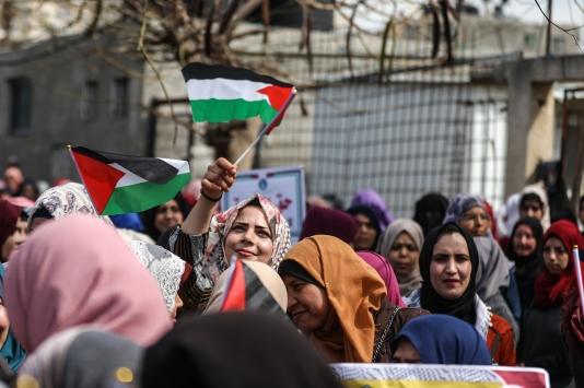 Gazzeli kadınlardan ABDnin sözde barış planı karşıtı gösteri