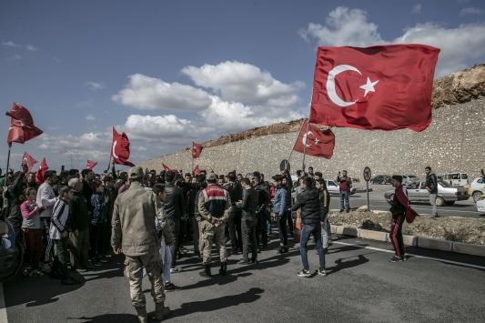 Cilvegözü Sınır Kapısında Mehmetçiğe destek gösterisi