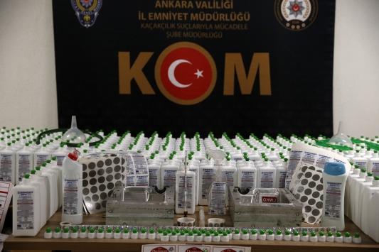 Ankarada sahte dezenfektan üreten suç örgütüne operasyon