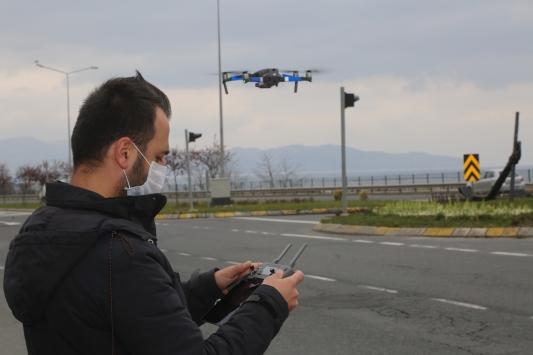 Sokağa çıkması kısıtlanan vatandaşlar dron ile denetlendi