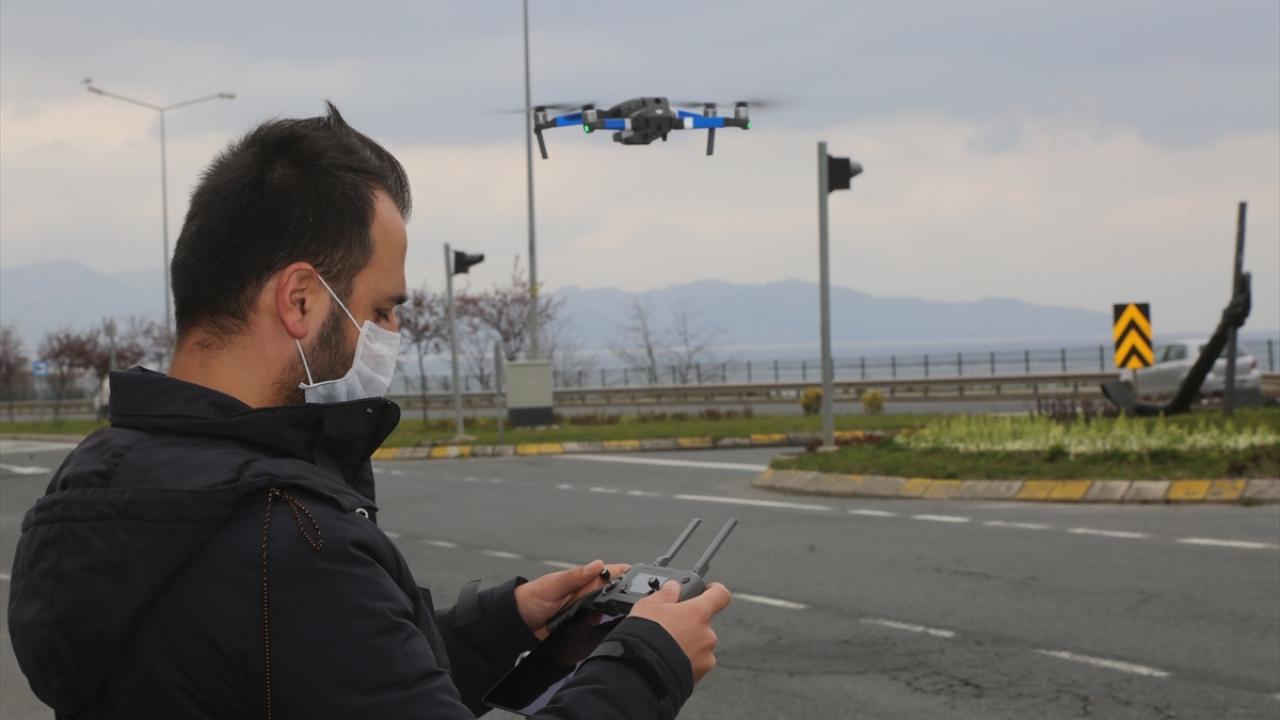 Sokağa çıkması kısıtlanan vatandaşlar drone ile denetlendi