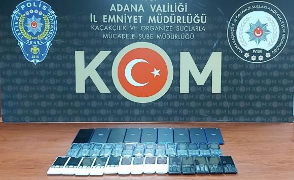 Adanada gümrük kaçağı 37 cep telefonu ele geçirildi