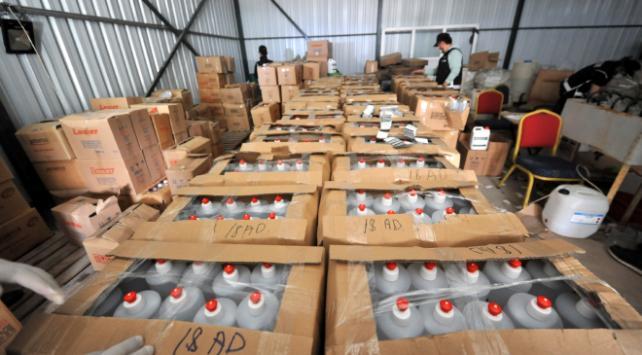 Bursada 1 milyon TLlik sahte dezenfektan operasyonu