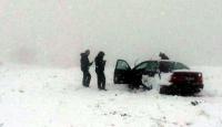 Ali Dağı'nda mahsur kalan sürücünün yardımına ekipler koştu
