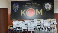 Adana'da kaçak sigara ve içki ele geçirildi