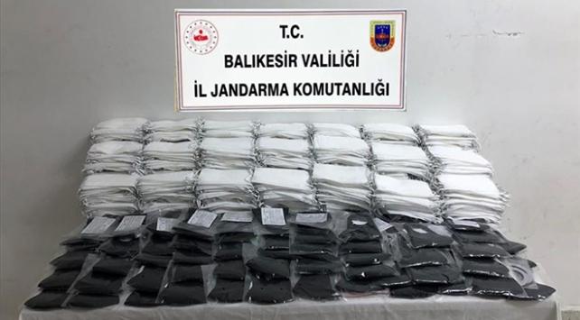 Balıkesirde kaçak üretilen 9 bin 850 maskeye el kondu