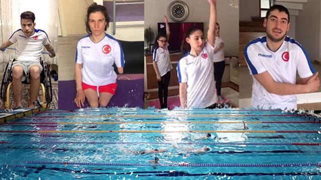 Engelli yüzücüler, antrenmanlarına evlerinde devam ediyor
