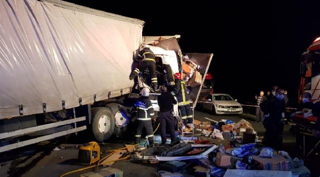 Kocaelide iki kargo kamyonu çarpıştı