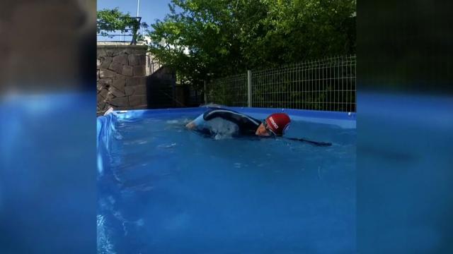 Şampiyon yüzücü antrenmanlarını evinin bahçesinde yapıyor