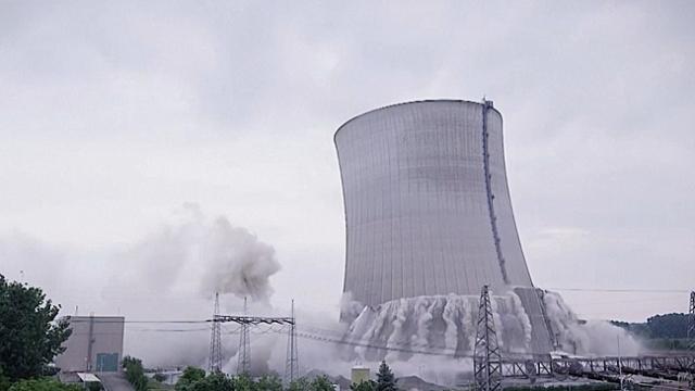 Nükleer santraldeki kontrollü yıkım kamerada