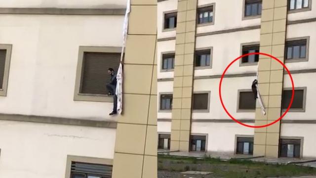 Camdan sarkıttığı çarşafla hastaneden kaçmaya çalıştı