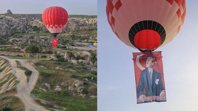 Türkiye'nin ilk yerli sıcak hava balonundan 19 Mayıs'a özel uçuş