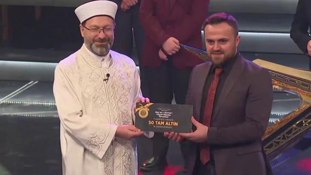 TRT'nin düzenlediği Kur'an-ı Kerim'i Güzel Okuma Yarışmasında birinci belli oldu
