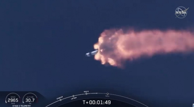 Ertelenen NASA SpaceX insanlı uçuşu bugün gerçekleşti... SpaceXin Falcon 9 roketi fırlatıldı...