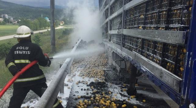 Anadolu Otoyolunda seyir halindeki limon yüklü tırda yangın