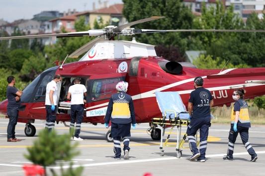 Kayseride ambulans helikopter kalp hastası kadın için havalandı