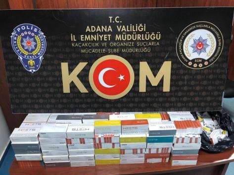 Adanada otobüs yolcusunun valizinden 1580 kaçak elektronik sigara çıktı