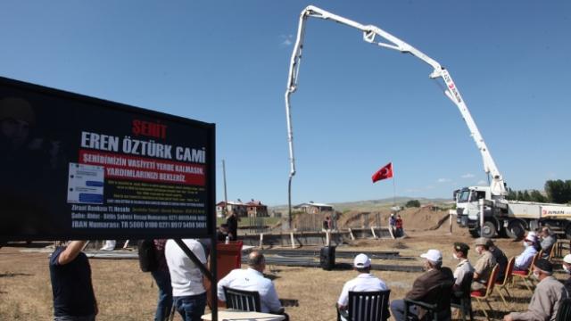 Şehit Eren Öztürk'ün vasiyeti olan caminin temeli atıldı