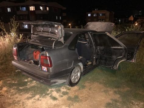 Bilecikte park halindeyken yanan araçta hasar oluştu