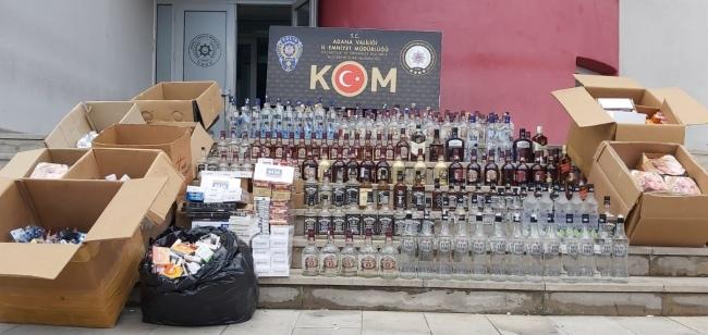 Adanada iş yerinde kaçak ürünler satan zanlı gözaltına alındı