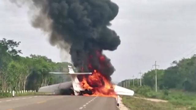 Meksika'da otoyola iniş yapan küçük uçak alev aldı
