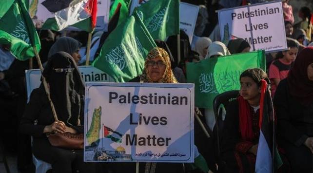 Gazzeli kadınlar, İsrailin ilhak planını protesto etti