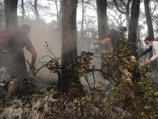Heybeliada sakinleri yangını söndürmeye yardım etti