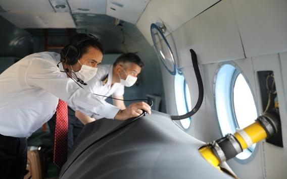 Çanakkale Valisi Aktaş jandarma ekipleriyle havadan denetime katıldı