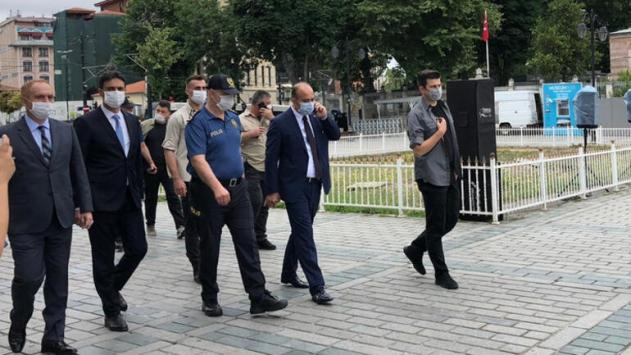 İstanbul Emniyet Müdürü Aktaş, Ayasofya Camiinde incelemede bulundu