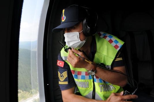 Kastamonuda helikopter destekli trafik denetimi yapıldı