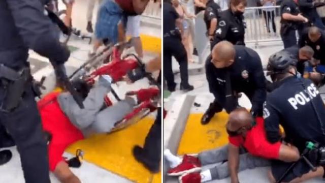 ABD polisi engelli protestocuyu düşürüp gözaltına aldı