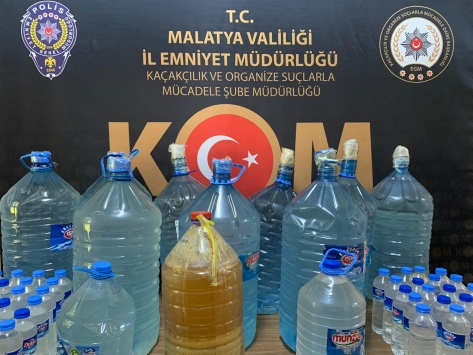 Malatyada 208 litre sahte içki ele geçirildi