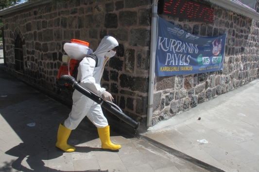 Karsta yayılmaya başlayan böcekler için belediye ekipleri seferber oldu