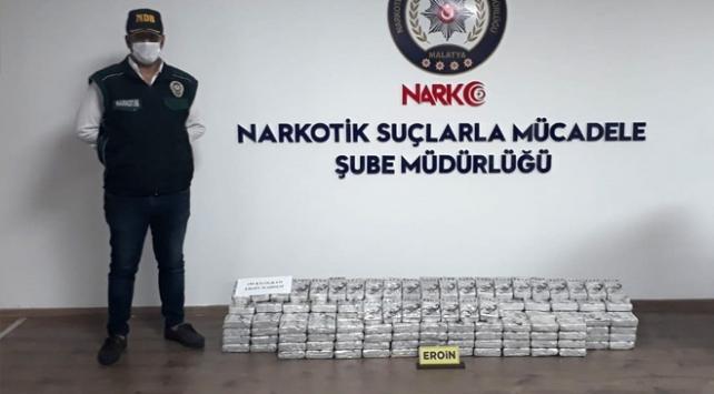 Malatyada yol kontrolünde 195 kilogram eroin ele geçirildi