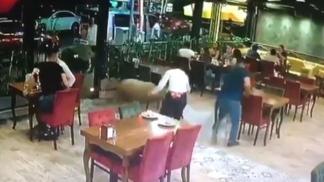 Sahibinin elinden kaçan kurbanlık koç restorana girdi