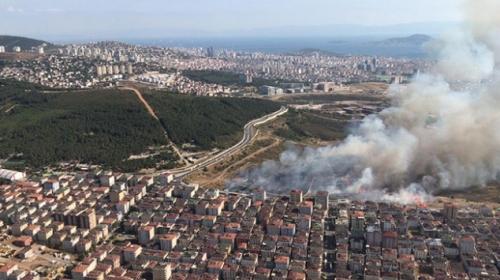 İstanbul'da askeri alanda yangın