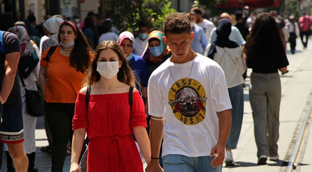 İstiklal Caddesinde maskesiz mesafesiz bayram yoğunluğu