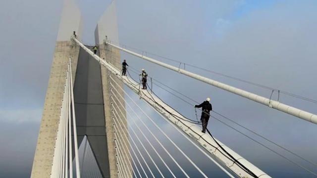 Yavuz Sultan Selim Köprüsü'nde nefes kesen çalışma havadan görüntülendi