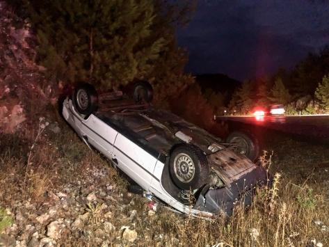 Aksekide otomobil şarampole devrildi: 3 yaralı