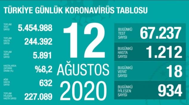 12 Ağustos koronavirüs tablosu açıklandı… Bugünkü vaka sayısı…